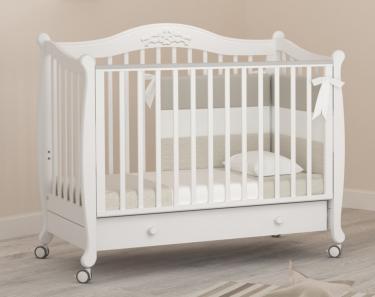 Детская кроватка на колесах Моника (белый)