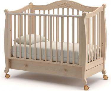 Детская кроватка на колесах Моника (выбеленный бук)