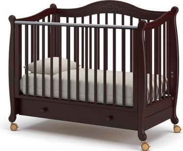 Детская кроватка на колесах Моника (махагон)