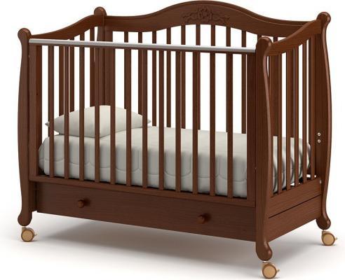 Детская кроватка на колесах Моника (орех)