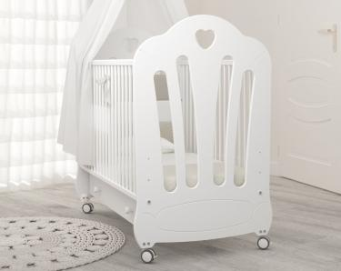 Детская кроватка на колесах Стефани (белый)