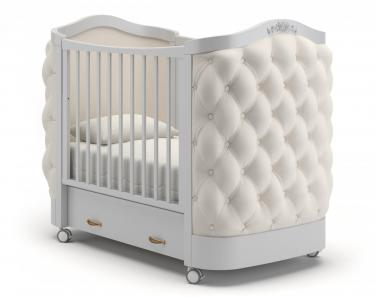 Детская кроватка на колесах Тиффани декор пуговицы (белая ночь)
