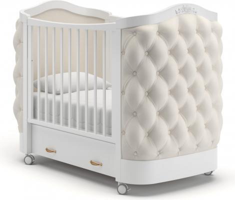 Детская кроватка на колесах Тиффани декор пуговицы (белый)
