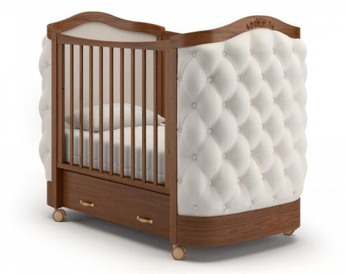 Детская кроватка на колесах Тиффани декор пуговицы (орех)
