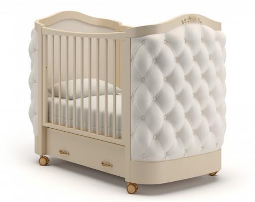 Детская кроватка на колесах Тиффани декор пуговицы (слоновая кость)