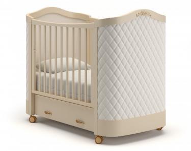 Детская кроватка на колесах Тиффани декор ромб (слоновая кость)
