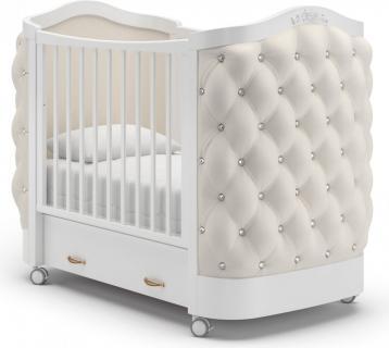 Детская кроватка на колесах Тиффани декор стразы (белый)