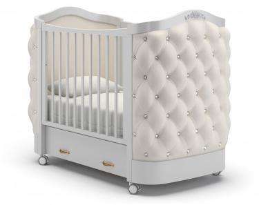 Детская кроватка на колесах Тиффани декор стразы (белая ночь)