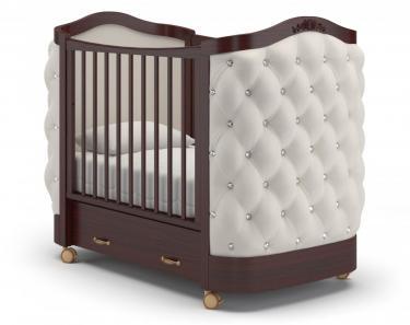 Детская кроватка на колесах Тиффани декор стразы (махагон)