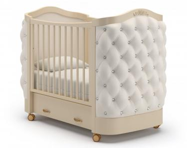 Детская кроватка на колесах Тиффани декор стразы (слоновая кость)