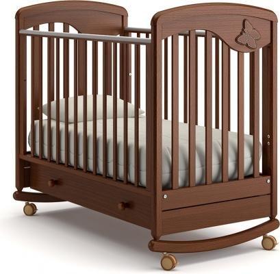 Детская кроватка-качалка Джулия Бабочка (орех)
