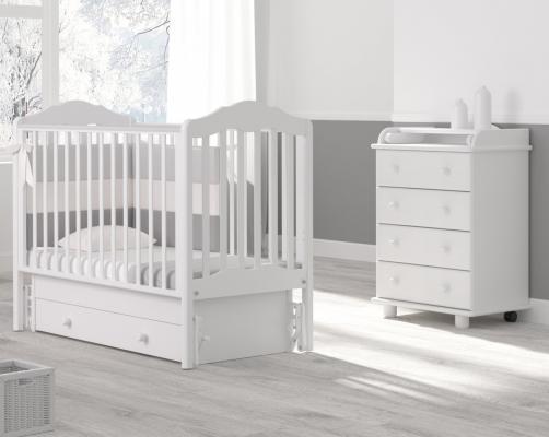 Детская кроватка с универсальным маятником Анастасия (белый)