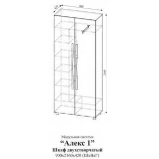 Шкаф двухстворчатый Алекс 1 (Клен/Титан)