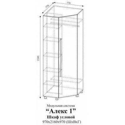 Шкаф угловой Алекс 1 (Клен/Титан)