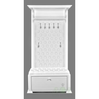 Комплект в прихожую EL 7001 / EL 4124 White Snow кожа белая, крючки серебро