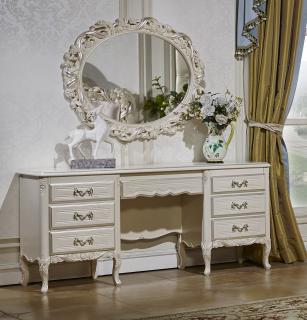 Туалетный столик с зеркалом Виттория (белый/жемчуг)