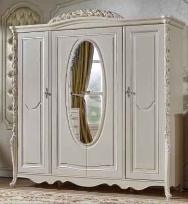 Шкаф 4-х дв. с зеркалом Виттория (белый/жемчуг)