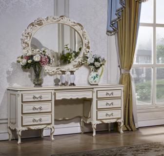 Туалетный столик с зеркалом Виттория (белый/золото)