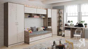Набор мебели для детской комнаты «Брауни»  (Фон бежевый с рисунком/Дуб Сонома трюфель)
