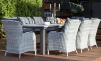 Обеденная группа: стол ПАРКЛЭНД (корич/серый) + 8 кресел БЕРГАМО (ротанг корич/серый)