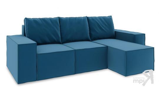 Диван угловой правый «Стенли Т1» Beauty 07 (велюр) синий