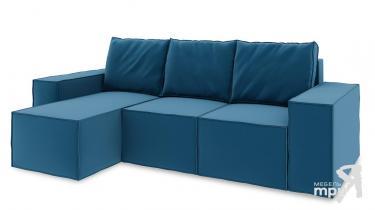Диван угловой левый «Стенли Т1» Beauty 07 (велюр) синий