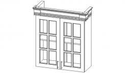 Верона секция навесная 2-створчатая с полкой, фасад со стеклом