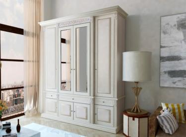 Шкаф 4-х ств. с декором Б13.1 (белый)