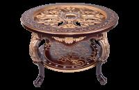 Стол журнальный кругл стекло Версаль орех