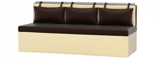 Кухонный диван Метро (Эко-кожа Коричневый Бежевый)