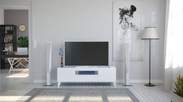 Тумба ТВ 1500 с опорами Бруклин белый глянец