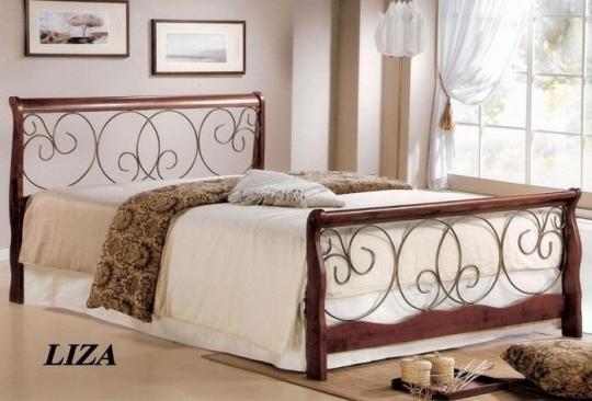 Двуспальная кровать Лиза (160х200) Темный орех